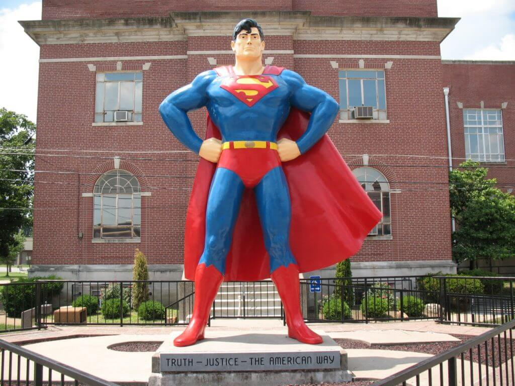 The superman statue in Metropolis, IL near our personal injury law office
